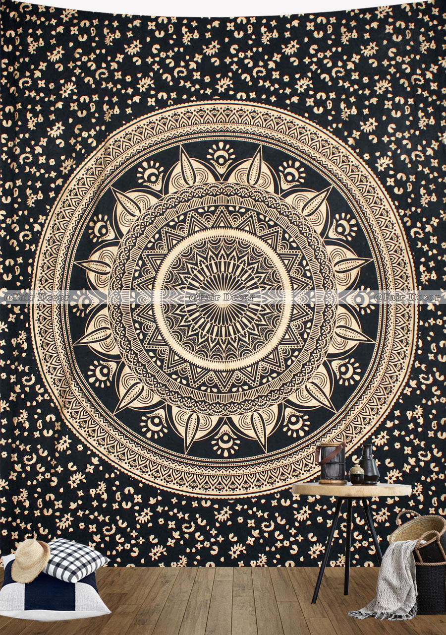 Home Decor Wall Tapestry : Black gold ombre mandala tapestry wall hanging home decor